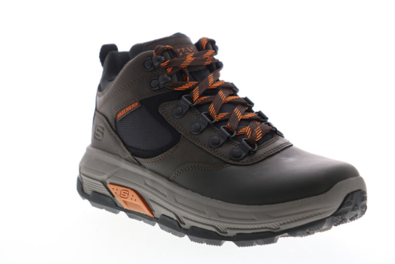 Skechers Max Stout Onvoy 204200 Mens Brown Leather Lace Up Hiking Boots