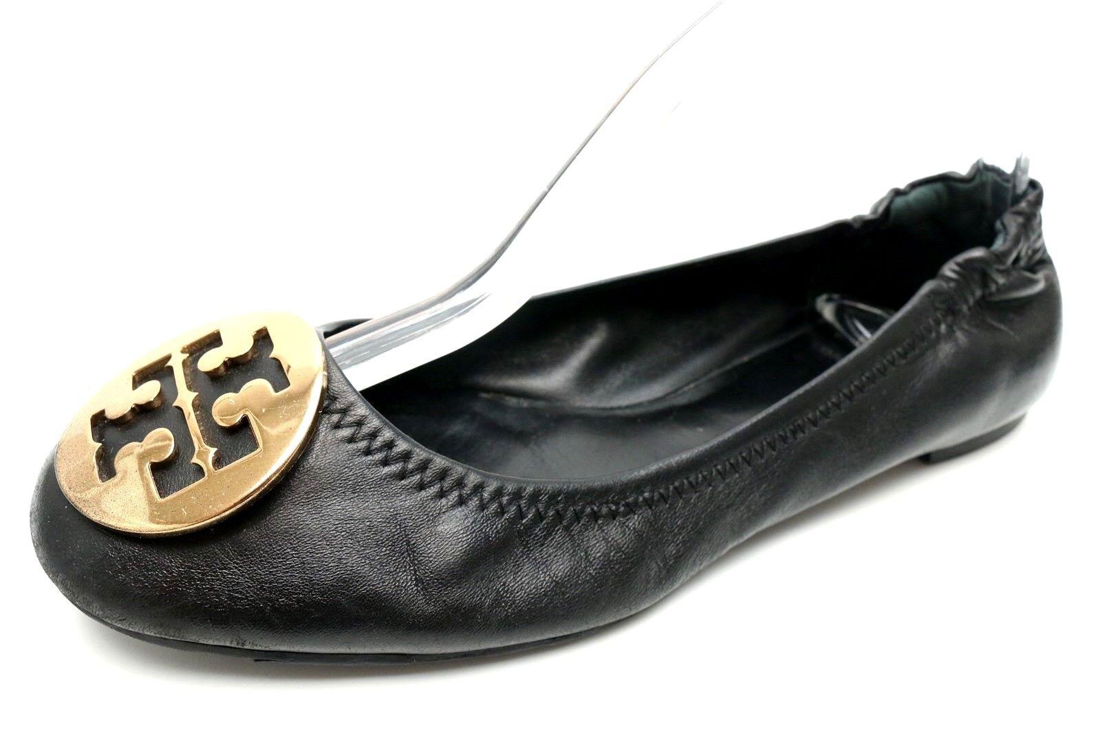 cad57518bd3f Details about Womens TORY BURCH REVA black leather ballet flats shoes  casual sz. 7 M