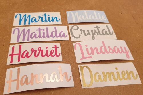 Custom Personalised Name Word Vinyl Decal Fancy Script Font Sticker Text Label