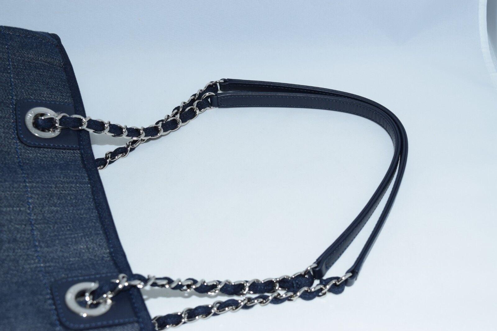 Chanel deauville sac bandoulière bleu denim chaîne sac à main neuf