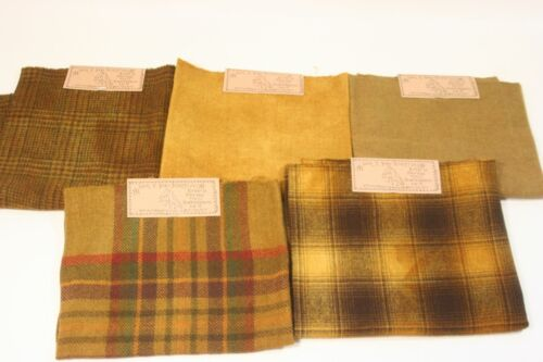lot FELTED WOOL FABRIC rug hooking applique 5x fat quarters hand over dyed gold