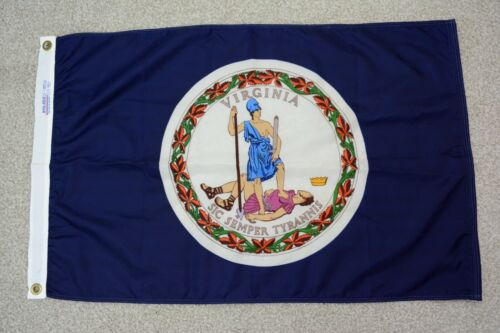 Vintage Nyl-Glo Virginia State Flag Made in the USA - Nylon Flag