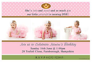 10 Personalised Girls 1st First Birthday Party PHOTO Invitations N24