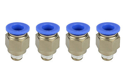 4x Temco Pneumatic Air Quick Push To Connect Fitting 18 Npt To 38 Hose Od