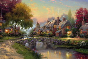 Cobblestone bridge Thomas Kinkade Oil painting HD Print on canvas 24