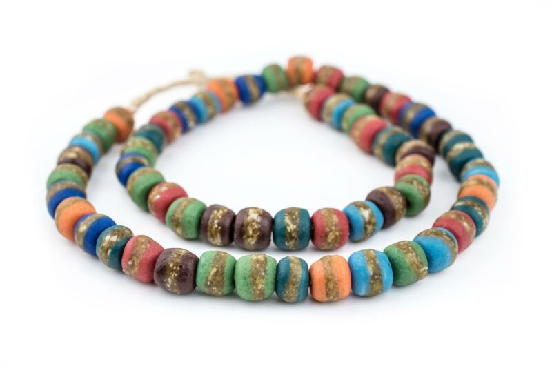 Mixed Kente Krobo Beads 12mm Ghana African Multicolor Round Glass Large Hole