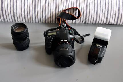 Sony A77 DSLR Camera With 2 lenses and dedicated Flash