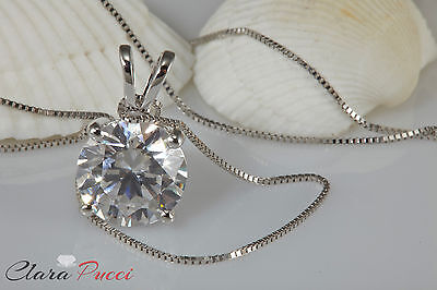 """2.5 Ct Round Cut 14K White Gold Simulated Diamond Pendant Necklace + 18"""" Chain"""