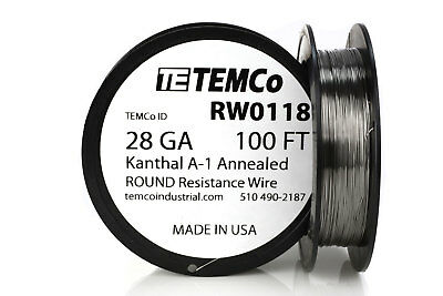 Temco Kanthal A1 Wire 28 Gauge 100 Ft Resistance Awg A-1 Ga