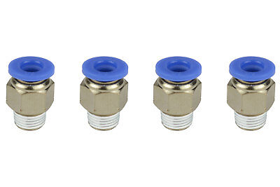4x Temco Pneumatic Air Quick Push To Connect Fitting 18 Npt To 14 Hose Od