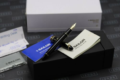 Sailor 1911 Large Black Gold Trim Fountain Pen - Naginata Togi Nib