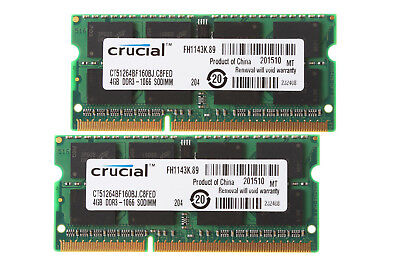 8GB Crucial 2X 4GB 2RX8 PC3-8500S DDR3 1066Mhz 204Pin Memory RAM Laptop PC8500 for sale  Shipping to United States