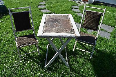Altes Holz Gartenmöbel um 1900 - Tisch / Stühle - Top Dekoration (180-16)