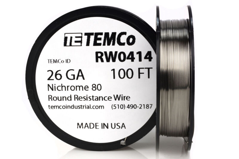 TEMCo Nichrome 80 series wire 26 Gauge 100 FT Resistance AWG ga