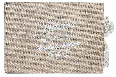 A Vintage Affair Wedding Bride & Groom Burlap Hessian Guest Advice Book