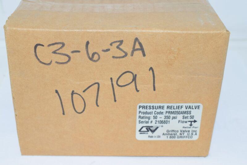 NEW Griffco Valve PRM050AMSS Pressure Relief Valve 50-350 PSI