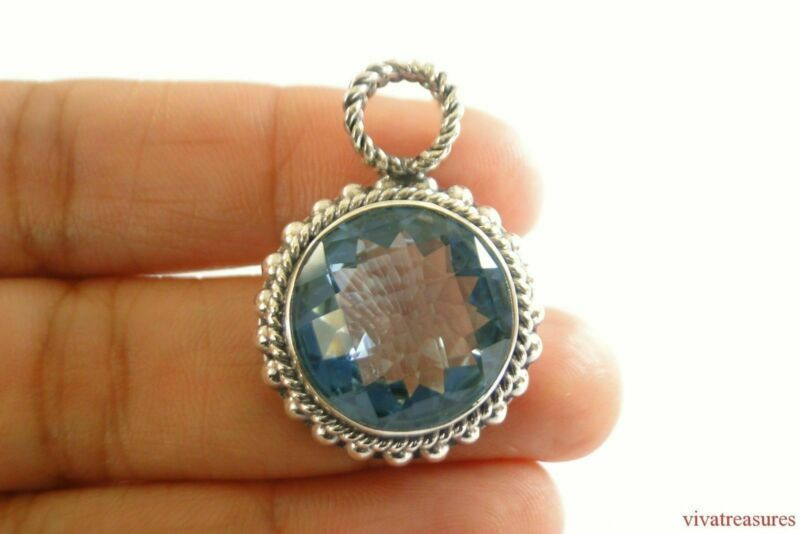 Blue Topaz Solitaire Ornate Crisscross Bail 925 Sterling Silver Pendant