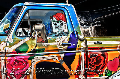 Day of the Dead, Skeleton, Pickup Truck, Fine Art Photo, 12 x 16 Matted Photo,