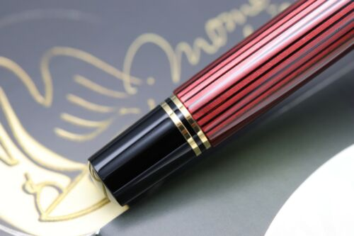 Pelikan Souveran M600 Red Striated Fountain Pen - ONLY DIPPED 3