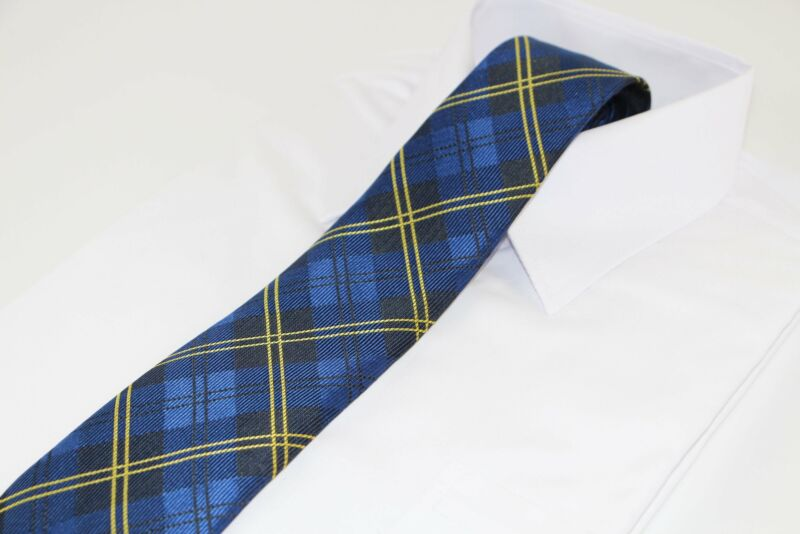 Mens Navy Blue & Yellow Striped Plaid Patterned 8cm Neck Tie