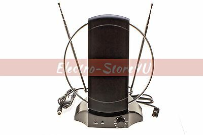 Used, Indoor Digital TV Antenna 50+ mile UHF VHF FM HDTV HIGH GAIN 36dB Signal Booster for sale  Shipping to India