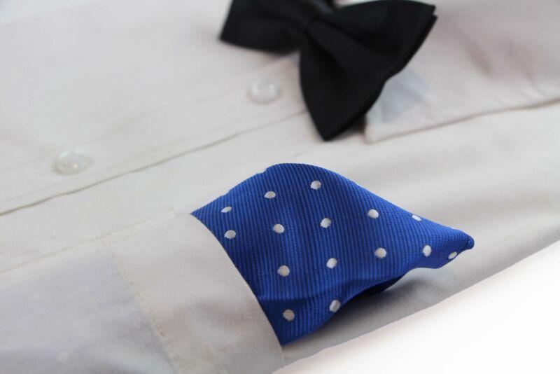 Mens Royal Blue & White Small Polka Dot Silk Pocket Square