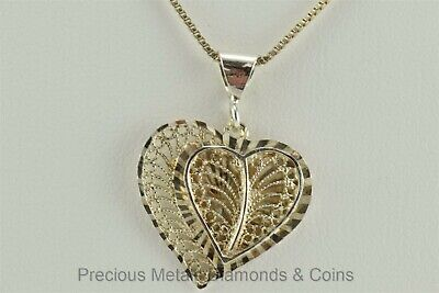Over Sterling Silver Lace Filigree - Gold over Sterling Silver Laced Filigree Double Heart Pendant w/18