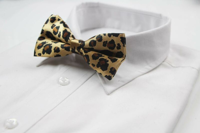 Mens Gold Leopard Print Patterned Bow Tie