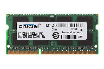 Crucial 8GB 2Rx8 PC3L-12800S DDR3L 1600 MHz 1.35V SODIMM Speicher RAM Intel #WT