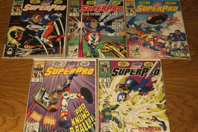 NFL SUPERPRO (Marvel) Pack of 5 Comics - Excellent Condition !!!