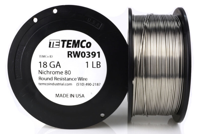 TEMCo Nichrome 80 series wire 18 Gauge 1 lb (215ft) Resistance AWG ga