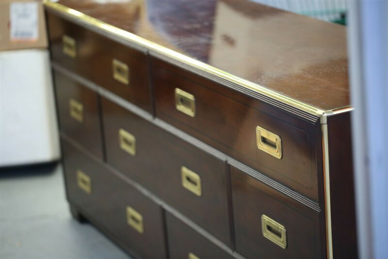 VINTAGE BAKER CAMPAIGN STYLE DRESSER, 7 DRAWER LOW CHEST Mid Century Furniture