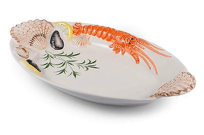 BASSANO Meeresfrüchte Fischteller Servierplatte italienische Keramik 35x21 ()