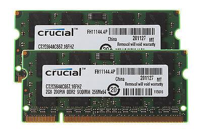 4GB 2x 2GB Crucial 2GB PC2-5300 DDR2 667MHz 200pin Sodimm Laptop Memory RAM