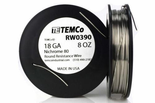 TEMCo Nichrome 80 series wire 18 Gauge 8 oz (107.5ft) Resistance AWG ga