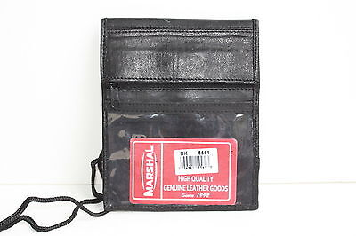 Genuine Leather Thin Wallet Id Badge Pocket Card Holder Pouch Neck Strap Gift