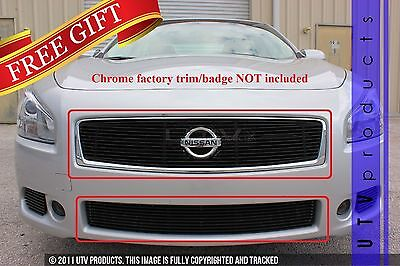 GTG Gloss Black 2PC Overlay Billet Grille Kit fits 2012 - 2014 Nissan Maxima