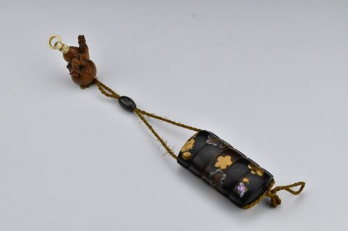 Rare Signed Japanese Meiji Period Inro w/ Netsuke and Mop Silver & Gold Overlay