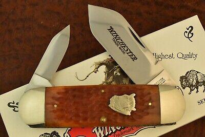 WINCHESTER USA BURNT ORANGE BONE ELEPHANT TOENAIL SUNFISH KNIFE 1996 NICE (7567)