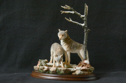 WOLVES (2)...at....THE WATERHOLE....BY COUNTRY ARTIST...NEW