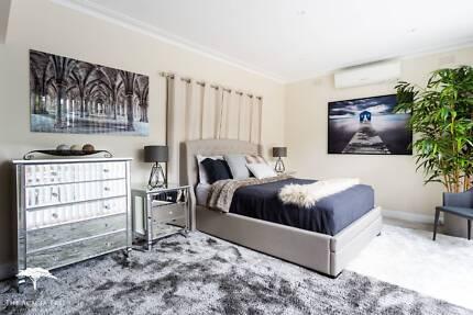 Superb Upholstered Bed Frame Suite 2 Drawers - BRAND NEW
