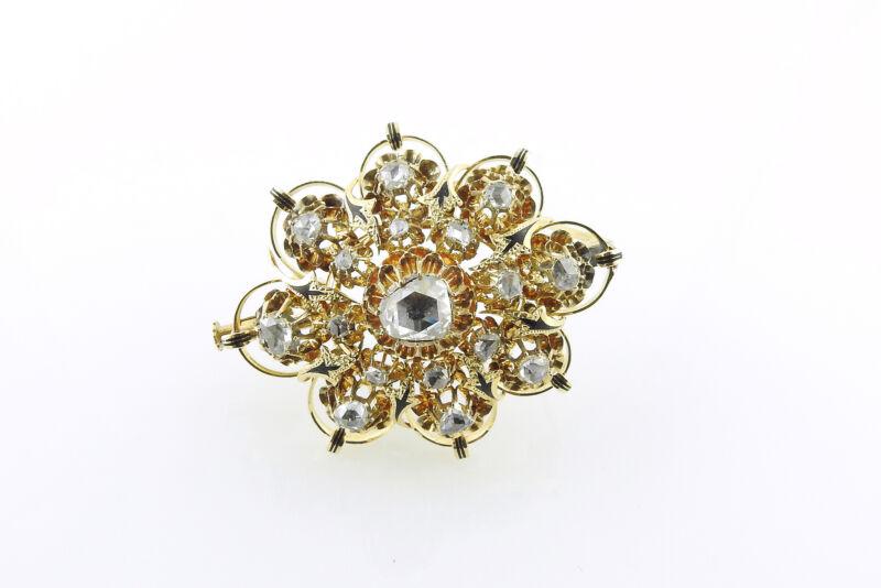 Vintage 16K Yellow Gold Rose Cut Diamond Brooch / Pin #9605