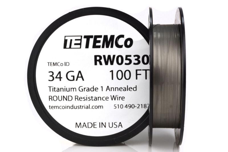 TEMCo Titanium Wire 34 Gauge 100 FT Surgical Grade 1 Resistance AWG ga