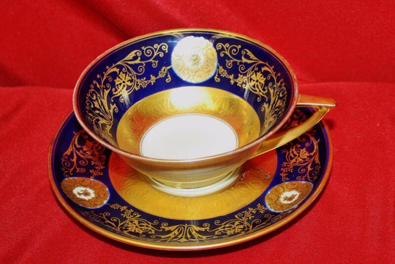 Rare Pirkenhammer Czechoslovkia Porcelain Cup and Saucer Cobalt & Gold Gilding