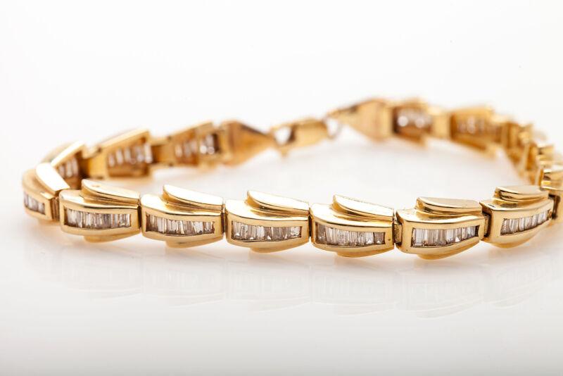 Estate $10,000 4ct Vs H Baguette Diamond 14k Yellow Gold Tennis Bracelet 26g
