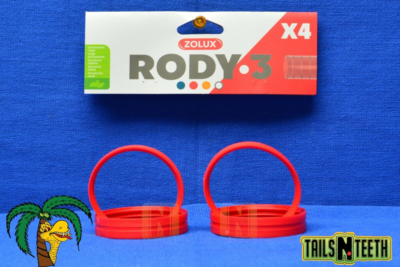Zolux RODY-3 Connection Rings For Rody-3 InterConnecting Cages - 4 Pack - Red - CA$3.99