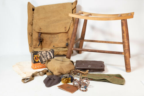 LOT Vintage Boy Scouts No. 574 YUCCA PACK With Wood Frame Chair Backpack Extras