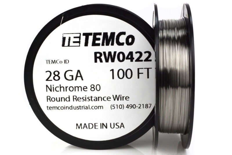 TEMCo Nichrome 80 series wire 28 Gauge 100 FT Resistance AWG ga