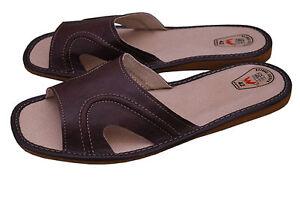 Mens-Slipper-Shoes-Mule-Sandals-Flip-Flop-Natural-Leather-Brown