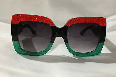 Authentic New Gucci Sunglasses GG0083 Red Green Frame Gray Grey Lens